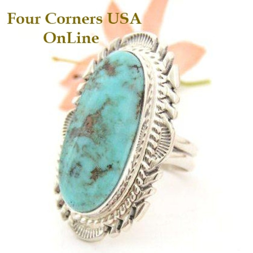 Elongated Dry Creek Turquoise Ring Size 9 Thomas Francisco Four Corners USA OnLine Native American Indian Silver Jewelry NAR-1441