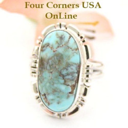 Dry Creek Turquoise Ring Size 7 3/4 Thomas Francisco Four Corners USA OnLine Native American Indian Silver Jewelry NAR-1444