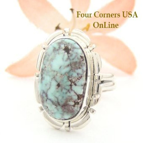 Dry Creek Turquoise Ring Size 7 Thomas Francisco Four Corners USA OnLine Native American Indian Silver Jewelry NAR-1447