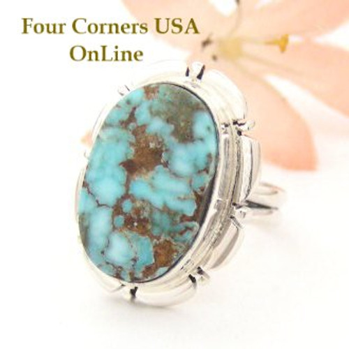 Dry Creek Turquoise Ring Size 7 Thomas Francisco Four Corners USA OnLine Native American Indian Silver Jewelry NAR-1448