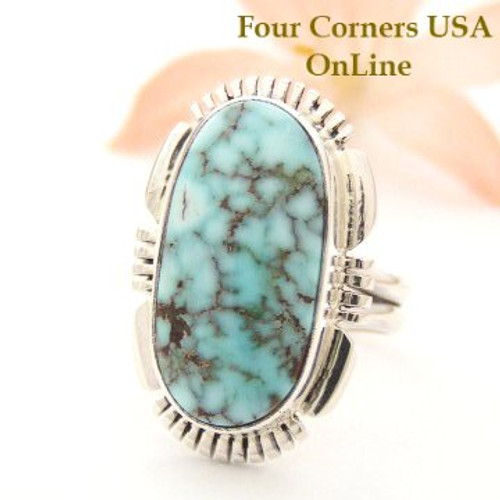 On Sale Now Dry Creek Turquoise Ring Size 7 1/4 Thomas Francisco Four Corners USA OnLine Native American Silver Jewelry NAR-1449