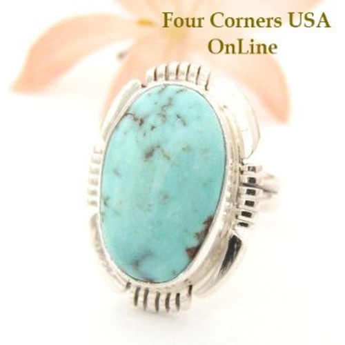 On Sale Now Dry Creek Turquoise Ring Size 7 1/4 Thomas Francisco Four Corners USA OnLine Native American Silver Jewelry NAR-1450