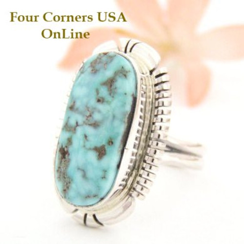 Dry Creek Turquoise Ring Size 9 Thomas Francisco Four Corners USA OnLine Native American Indian Silver Jewelry NAR-1452