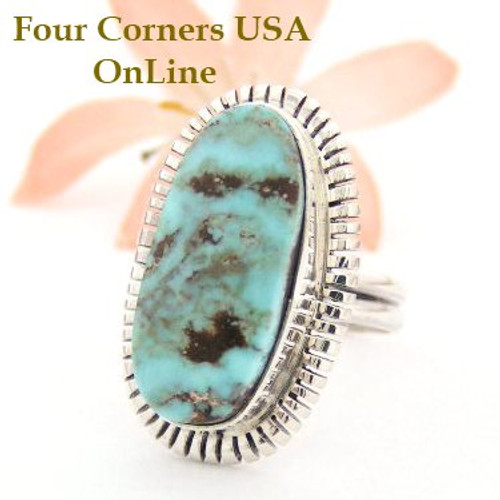 Dry Creek Turquoise Ring Size 9 Thomas Francisco Four Corners USA OnLine Native American Indian Silver Jewelry NAR-1453