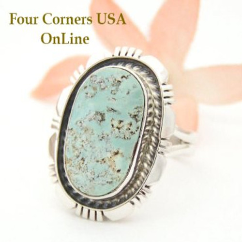 Dry Creek Turquoise Sterling Ring Size 8 Navajo Artisan Robert Concho Four Corners USA OnLine Native American Jewelry NAR-1461