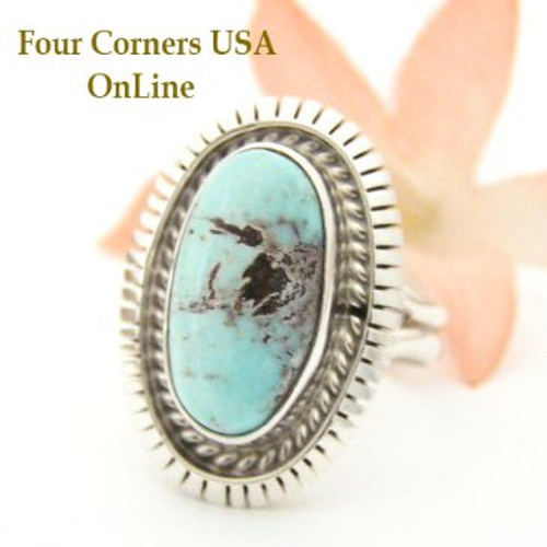 On Sale Now Dry Creek Turquoise Sterling Ring Size 7 3/4 Navajo Artisan Robert Concho Four Corners USA OnLine Native American Jewelry NAR-1462