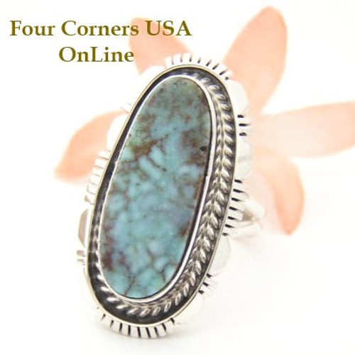 Dry Creek Turquoise Sterling Ring Size 7 Navajo Artisan Robert Concho Four Corners USA OnLine Native American Jewelry NAR-1469