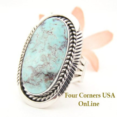 On Sale Now Dry Creek Turquoise Large Stone Ring Size 8 Eugene Belone Navajo Silver Jewelry NAR-1465 Four Corners USA OnLine