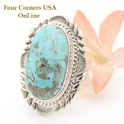 Dry Creek Turquoise Large Stone Ring Size 7 1/2 Thomas Francisco Navajo Silver Jewelry NAR-1466 Four Corners USA OnLine