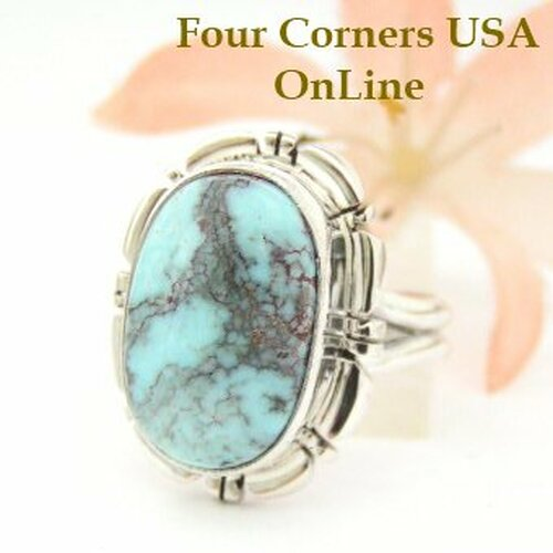 On Sale Now Dry Creek Turquoise Ring Size 7 3/4 Thomas Francisco Four Corners USA OnLine American Indian Silver Jewelry NAR-1464