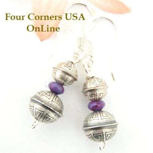 Spiral Stamped Sterling Silver Bead Mohave Purple Turquoise Earrings Navajo Handcrafted Silver Beads Four Corners USA OnLine