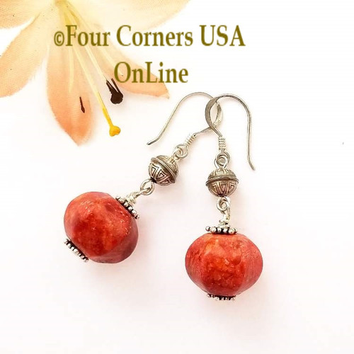 Apple Coral Navajo Handmade Silver Bead Artisan Earrings Four Corners USA OnLine Jewelry Making Beading Craft Supplies