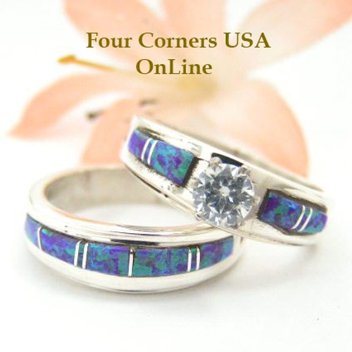Engagement Bridal Wedding Ring Set Size 7 1/4 Purple Fire Opal Wilbert Musket Jr Four Corners USA OnLine Native American Silver Jewelry WS-1443