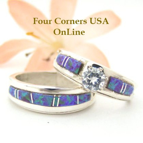 Engagement Bridal Wedding Ring Set Size 8 Purple Fire Opal Wilbert Musket Jr Four Corners USA OnLine Native American Silver Jewelry WS-1449