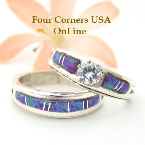 Engagement Bridal Wedding Ring Set Size 9 Purple Fire Opal Wilbert Muskett Jr Four Corners USA OnLine Native American Silver Jewelry WS-1450