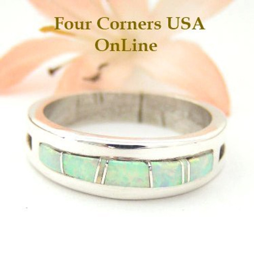White Fire Opal Inlay Ring Size 10 1/2 Native American Silver Jewelry by Wilbert Muskett Jr WB-1478 Four Corners USA OnLine