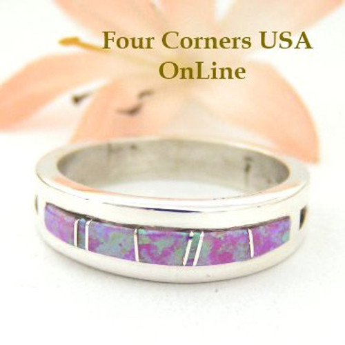 Pink Fire Opal Inlay Ring Size 10 1/2 Native American Silver Jewelry by Wilbert Muskett Jr WB-1484 Four Corners USA OnLine