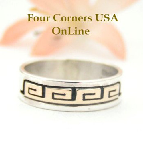 14K Gold and Sterling Ring Size 8 Native American Navajo Spirals Jewelry by David Skeets NAR-1493 Four Corners USA OnLine