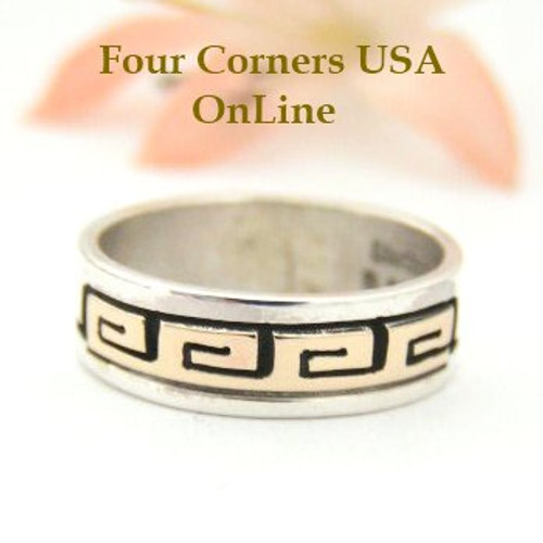 14K Gold and Sterling Ring Size 6 1/4 Native American Navajo Spirals Jewelry by David Skeets NAR-1495 Four Corners USA OnLine