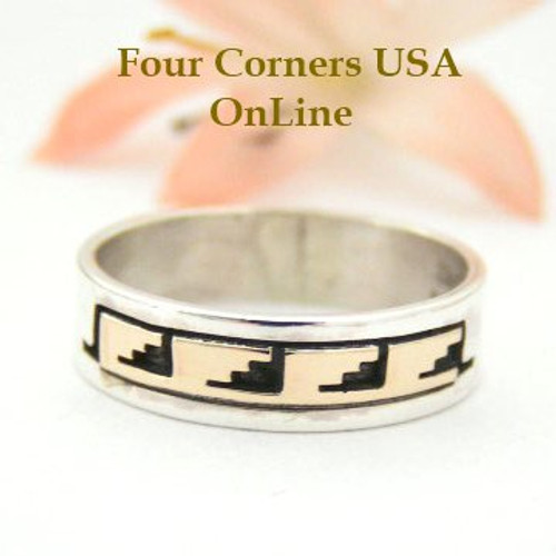 14K Gold and Sterling Ring Size 9 Native American Navajo Kiva Steps Jewelry by David Skeets NAR-1496 Four Corners USA OnLine
