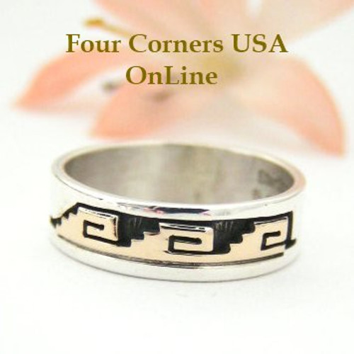 14K Gold and Sterling Ring Size 7 Navajo Kiva Steps and Spirals Jewelry by David Skeets NAR-1500 Four Corners USA OnLine