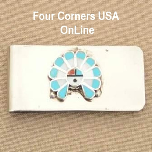 Inlay Zia SunFace Money Clip Native American Zuni Silversmith Pino Yurie NAM-1401C Closeout Final Sale