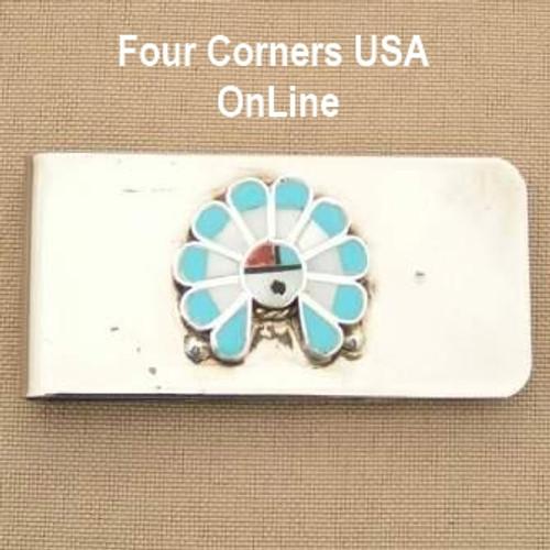 Inlay Zia SunFace Money Clip Native American Zuni Silversmith Pino Yurie NAM-1401D Closeout Final Sale