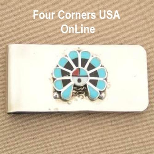 Inlay Zia SunFace Money Clip Native American Zuni Silversmith Pino Yurie NAM-1404A Closeout Final Sale