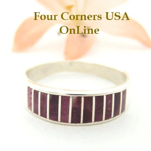 Purple Spiny Oyster Inlay Band Ring Size 10 1/2 Native American Ella Cowboy Silver Jewelry WB-1486 Four Corners USA OnLine
