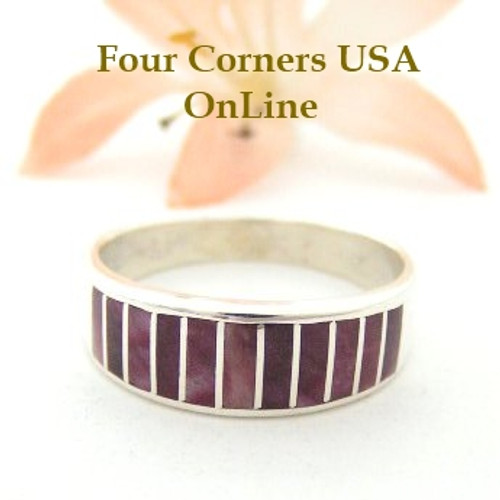 Purple Spiny Oyster Inlay Band Ring Size 9 Native American Ella Cowboy Silver Jewelry WB-1489 Four Corners USA OnLine Native American Silver Jewelry
