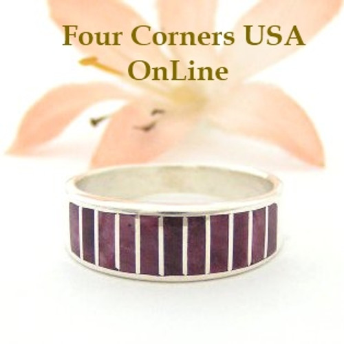 Purple Spiny Oyster Inlay Band Ring Size 8 1/2 Native American Ella Cowboy Silver Jewelry WB-1490 Four Corners USA OnLine Native American Silver Jewelry