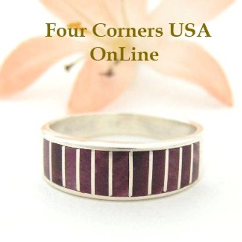 Purple Spiny Oyster Inlay Band Ring Size 8 Native American Ella Cowboy Silver Jewelry WB-1491 Four Corners USA OnLine Native American Silver Jewelry