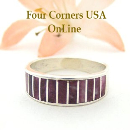 Purple Spiny Oyster Inlay Band Ring Size 8 Native American Ella Cowboy Silver Jewelry WB-1492