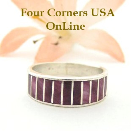 Purple Spiny Oyster Inlay Band Ring Size 6 1/2 Native American Ella Cowboy Silver Jewelry WB-1494 Four Corners USA OnLine Native American Silver Jewelry
