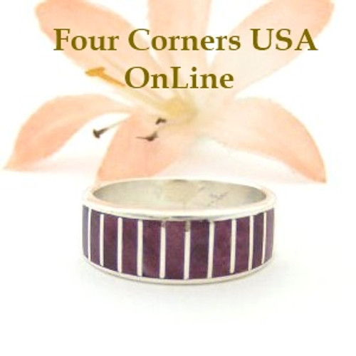 Purple Spiny Oyster Inlay Band Ring Size 6 Native American Ella Cowboy Silver Jewelry WB-1495 Four Corners USA OnLine Native American Silver Jewelry