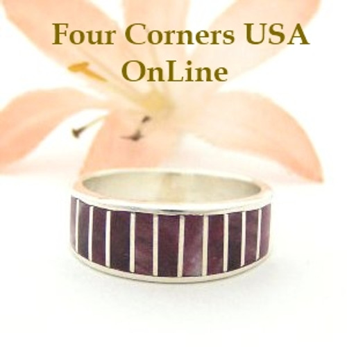 Purple Spiny Oyster Inlay Band Ring Size 5 1/2 Native American Ella Cowboy Silver Jewelry WB-1496 Four Corners USA OnLine Native American Silver Jewelry