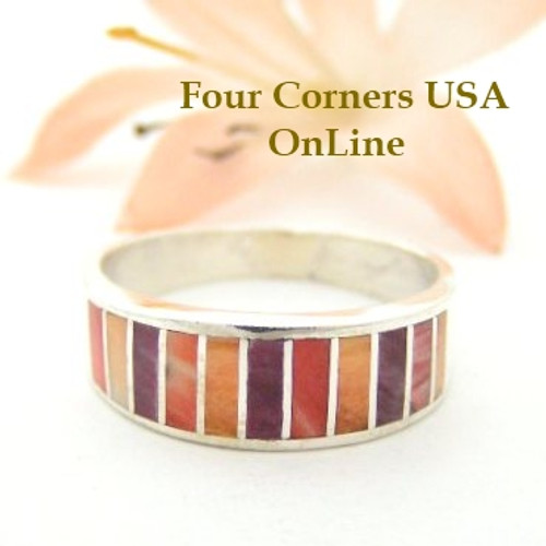 Size 8 Multi Color Spiny Oyster Shell Inlay Band Ring Navajo Ella Cowboy WB-1502 Four Corners USA OnLine Native American Silver Jewelry
