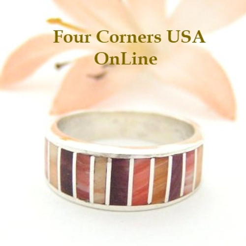 Size 5 Multi Color Spiny Oyster Shell Inlay Band Navajo Ella Cowboy Four Corners USA OnLine Native American Silver Jewelry WB-1508