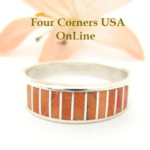 Orange Spiny Oyster Inlay Band Ring Size 10 3/4 Native American Ella Cowboy Silver Jewelry WB-1510 Four Corners USA OnLine Native American Silver Jewelry