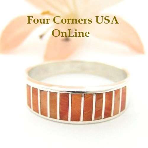 Orange Spiny Oyster Inlay Band Ring Size 10 Native American Ella Cowboy Silver Jewelry WB-1511 Four Corners USA OnLine Native American Silver Jewelry