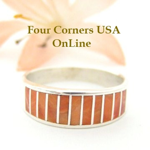 Orange Spiny Oyster Inlay Band Ring Size 9 Native American Ella Cowboy Silver Jewelry WB-1513 Four Corners USA OnLine Native American Silver Jewelry