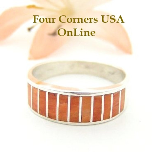 Orange Spiny Oyster Inlay Band Ring Size 9 Native American Ella Cowboy Silver Jewelry WB-1514
