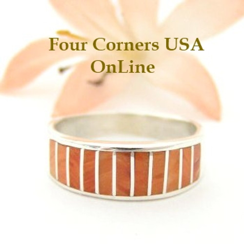 Orange Spiny Oyster Inlay Band Ring Size 8 Native American Ella Cowboy Silver Jewelry WB-1515 Four Corners USA OnLine Native American Silver Jewelry