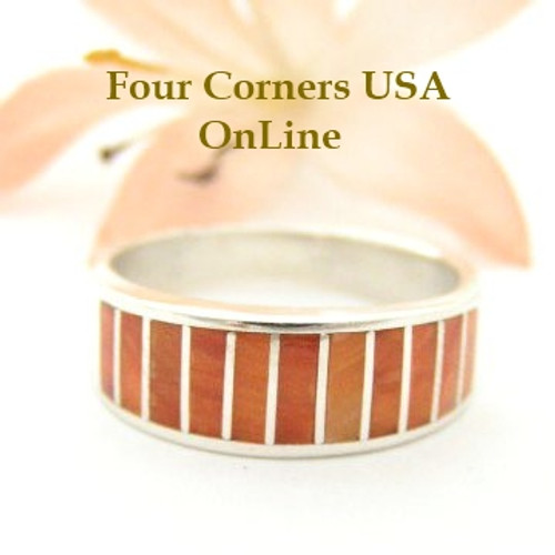 Orange Spiny Oyster Inlay Band Ring Size 7 1/2 Native American Ella Cowboy Silver Jewelry WB-1516 Four Corners USA OnLine Native American Silver Jewelry
