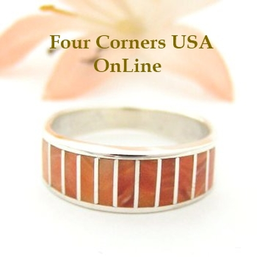 Orange Spiny Oyster Inlay Band Ring Size 7 Native American Ella Cowboy Silver Jewelry WB-1517 Four Corners USA OnLine Native American Silver Jewelry
