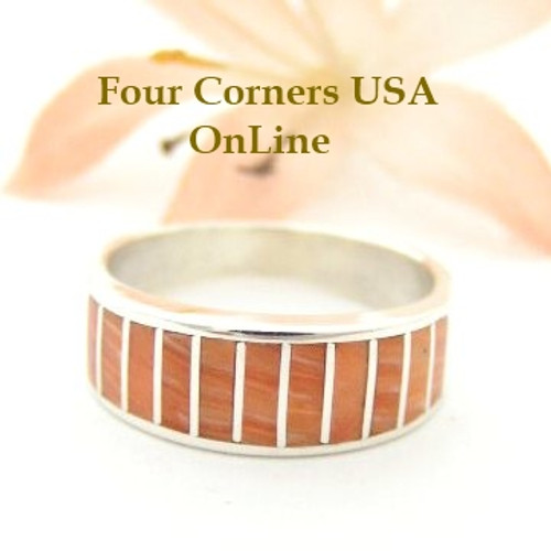 Orange Spiny Oyster Inlay Band Ring Size 6 1/2 Native American Ella Cowboy Silver Jewelry WB-1518 Four Corners USA OnLine Native American Silver Jewelry