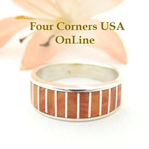Orange Spiny Oyster Inlay Band Ring Size 6 Native American Ella Cowboy Silver Jewelry WB-1519 Four Corners USA OnLine Native American Silver Jewelry