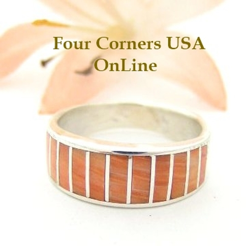 Orange Spiny Oyster Inlay Band Ring Size 6 Native American Ella Cowboy Silver Jewelry WB-1520 Four Corners USA OnLine Native American Silver Jewelry