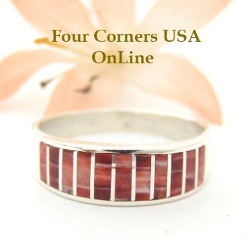 Red Spiny Oyster Inlay Band Ring Size 10 1/2 Native American Ella Cowboy Silver Jewelry WB-1522 Four Corners USA OnLine Native American Silver Jewelry