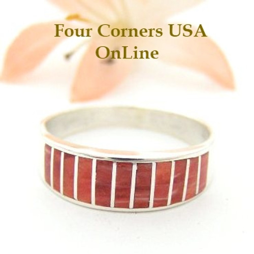 Red Spiny Oyster Inlay Band Ring Size 10 Native American Ella Cowboy Silver Jewelry WB-1523 Four Corners USA OnLine Native American Silver Jewelry